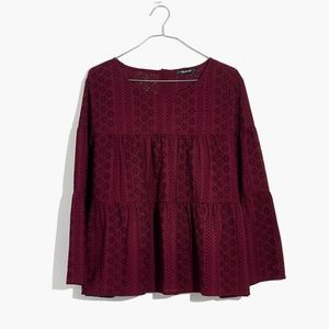 NWT Madewell Eyelet Tiered Button-Back Top XXS